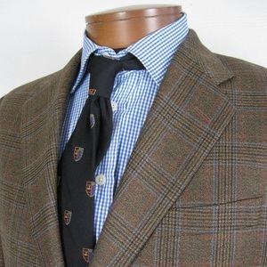 Hickey Freeman Brown Glen Plaid Sport Coat 41L